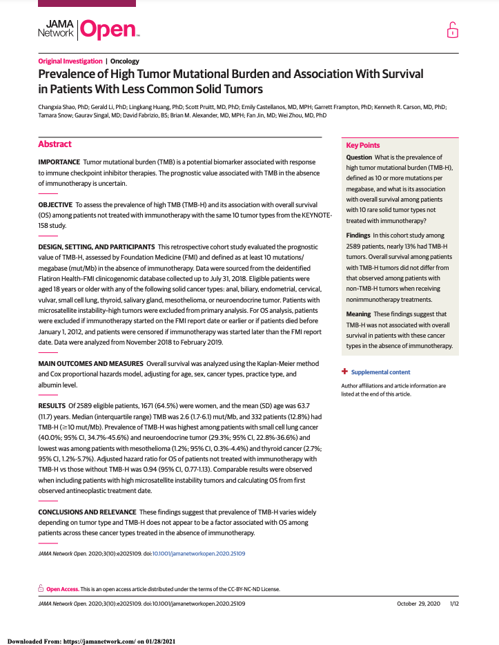 Shao C, Li G, Huang L, et al. Prevalence of High Tumor Mutational Burden and Association With Survival in Patients With Less Common Solid Tumors. <i>JAMA Netw Open</i>. 2020;3(10):e2025109.