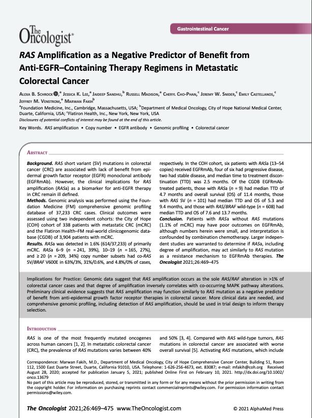 Schrock AB, Lee JK, Sandhu J, Madison R, Cho-Phan C, Snider JW, Castellanos E, Venstrom JM, Fakih M. RAS Amplification as a Negative Predictor of Benefit from Anti-EGFR-Containing Therapy Regimens in Metastatic Colorectal Cancer. <i>Oncologist.</i> 2021 Jun;26(6):469-475.