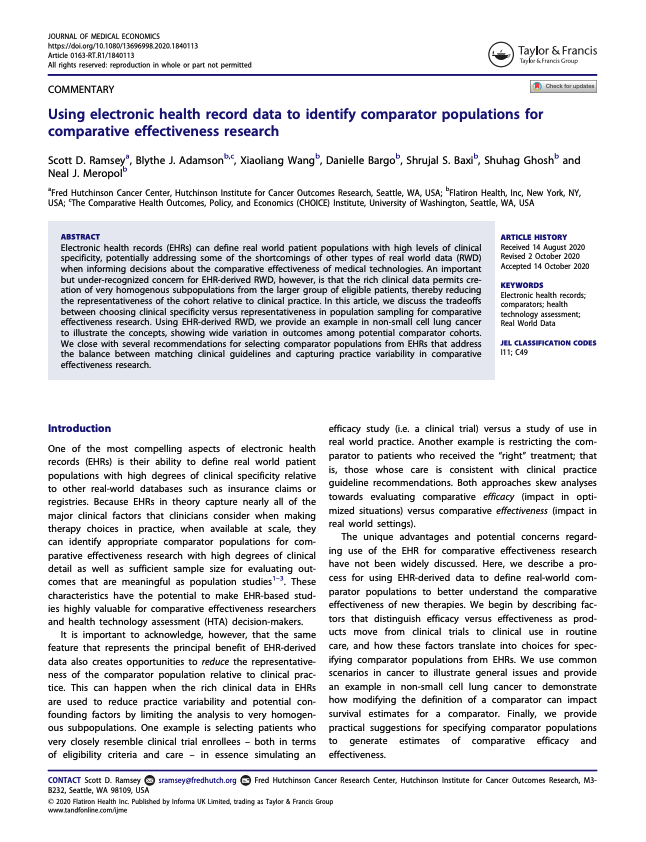 Ramsey SD, Adamson BJ, Wang X, Bargo D, Baxi SS, Ghosh S, Meropol NJ. Using electronic health record data to identify comparator populations for comparative effectiveness research. <i>Journal of Medical Economics. 2020.</i>