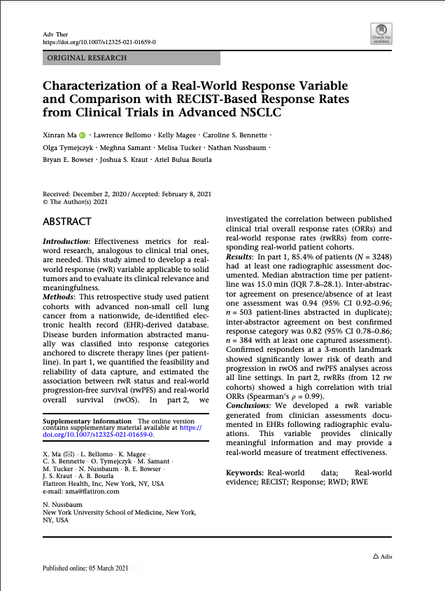 Ma, X., Bellomo, L., Magee, K. et al. Characterization of a Real-World Response Variable and Comparison with RECIST-Based Response Rates from Clinical Trials in Advanced NSCLC. <i>Adv Ther</i> (2021).